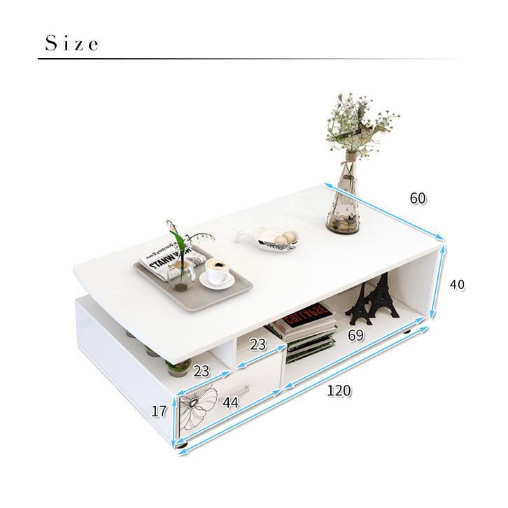 テーブル センターテーブル ローテーブル インテリア 北欧 収納 リビングテーブル 幅120cm 奥行60cm 白 ホワイト 収納棚付 収納棚 おしゃれ 収納ラック kira-bsmile 07