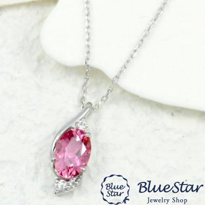 出産祝い ピンクトルマリン ネックレス レディース ダイヤモンド ネックレス 45cm フリーアジャスター K18WG BlueStar, ゴセンシ 35e4de33