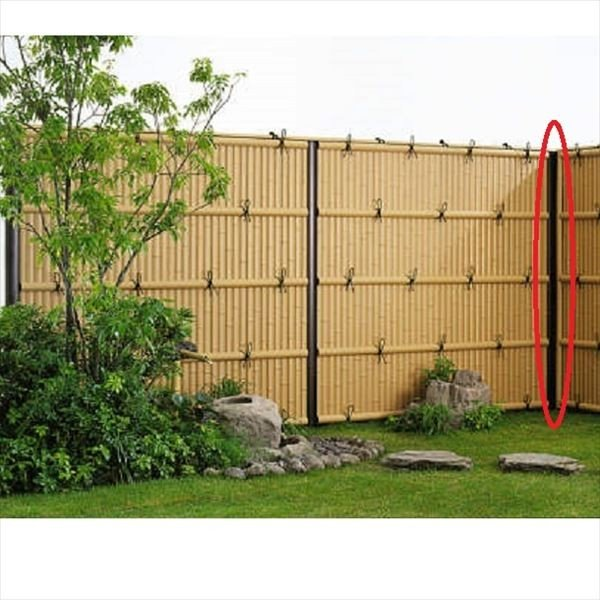 YKKAP 竹垣風フェンス オプション 間仕切柱 T180 目隠し角柱 真竹調