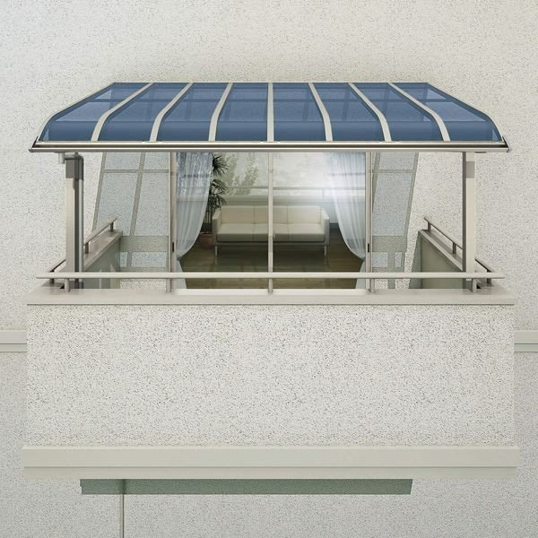 YKKAP 躯体式バルコニー屋根 ソラリア Bタイプ 柱奥行移動タイプ 1間×4尺 アール型 ポリカ屋根 関東間 1500N/m2 中間取付金具セット付