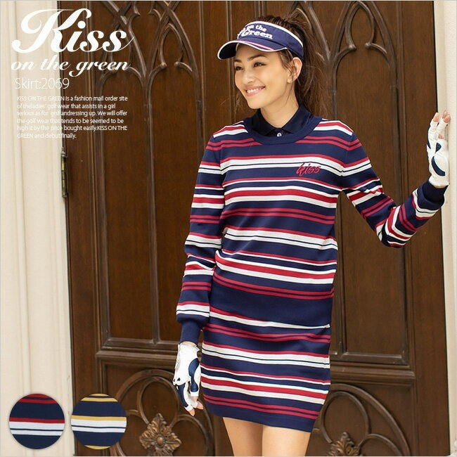 ゴルフウェア レディース マルチボーダーニット&スカート上下セット (スカートはインナーパンツ一体型) | ワンピース セットアップ