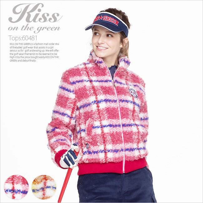 ゴルフウェア レディース チェック柄ジップアップボアブルゾン | ゴルフウエア ゴルフ かわいい おしゃれ レディースゴルフウェア