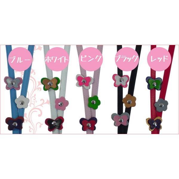 ネックストラップ かわいい蝶々と小花のチャーム付 革 レザー スマホ パスケース|kitaebisu|03