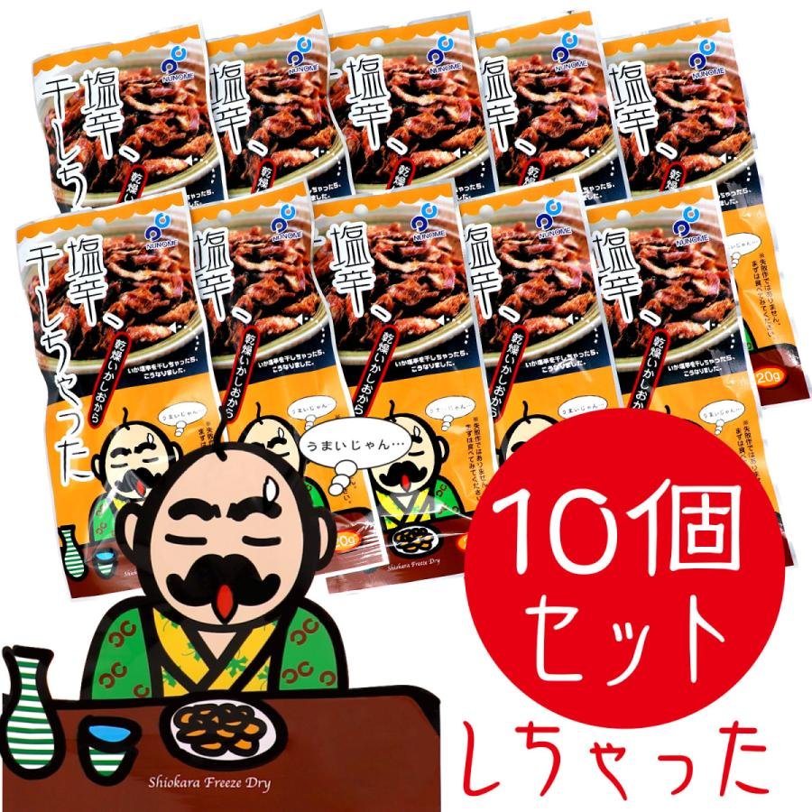 布目 国産真いか使用 フリーズドライ 塩辛、干しちゃった 10個セット(20g x 10)|kitaikor