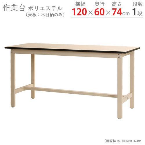 ワークテーブル 作業台 300K ポリエステル天板 幅120×奥行60×高さ74cm グリーン ベイジュ 300kg/段 ガレージ