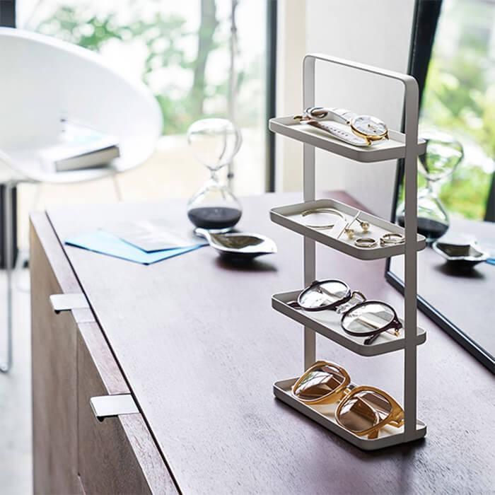 山崎実業 tower アクセサリースタンド メガネ&アクセサリートレー 4段 ホワイト タワー|kitchen|02