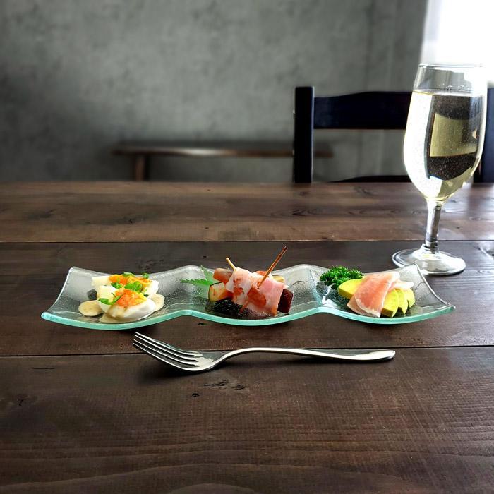 皿 ガラス シーニュ 3つ 仕切り 30cm 長方形 おしゃれ 家飲み 宅飲み レストラン食器 3連皿 kitchengoods-bell