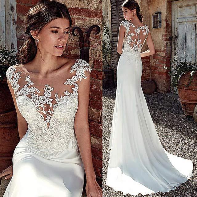 トレーン ウエディングドレス レース サテン ホワイトドレス 結婚式 花嫁 マーメイドライン ノースリーブ ブライダルドレス 背開き 披露宴 挙式 ドレス|kittyshop