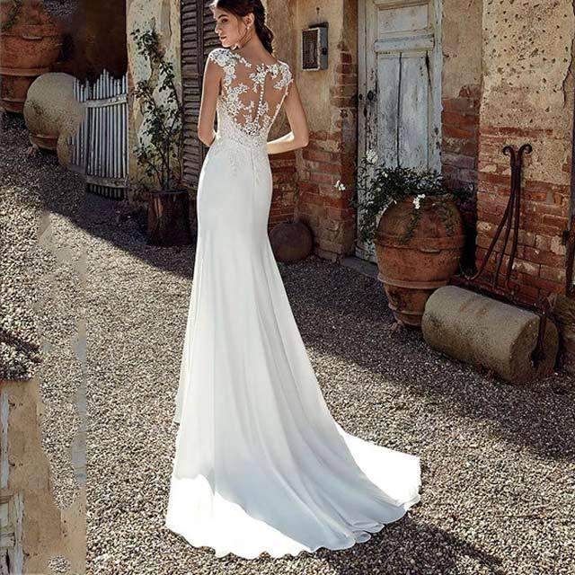 トレーン ウエディングドレス レース サテン ホワイトドレス 結婚式 花嫁 マーメイドライン ノースリーブ ブライダルドレス 背開き 披露宴 挙式 ドレス|kittyshop|05