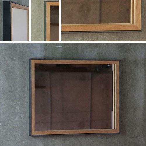 洗面 洗面 鏡 木枠 洗面化粧台 アイアン オーク 鉄枠と木枠の鏡 壁掛け おしゃれ アンティーク 北欧 洗面所 洗面台 鏡 ウォールミラー 姿見 日本製