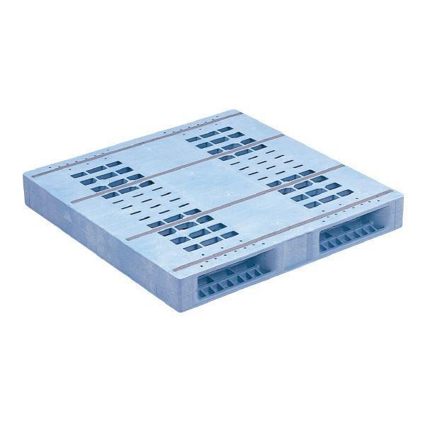 【直送】三甲(サンコー) プラスチックパレット/プラパレ 〔両面使用型〕 段積み可 R2-1111F-5 PP ライトブルー(青)
