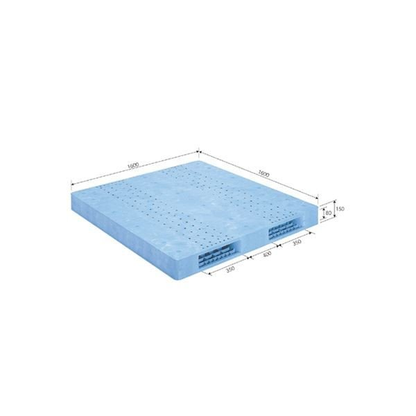 【直送】三甲(サンコー) プラスチックパレット/プラパレ 〔両面使用型〕 段積み可 R2-1616F ライトブルー(青)