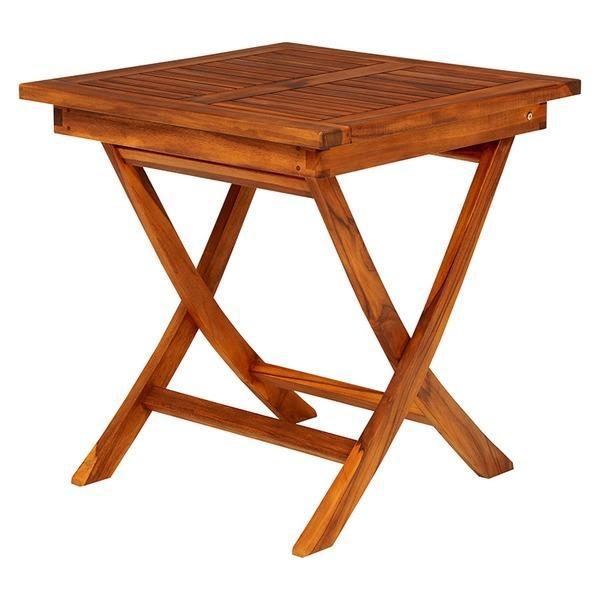 【直送】木製ガーデンテーブル/アウトドアテーブル 〔正方形/幅70cm〕 折りたたみ式 チーク材使用 木目調