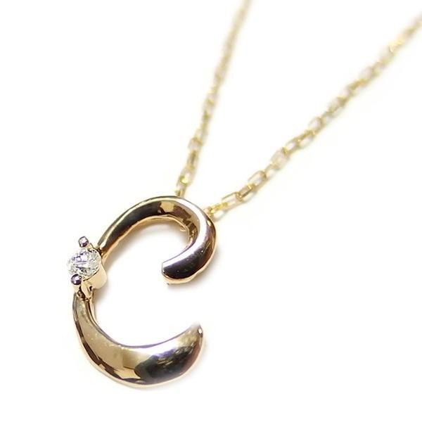値引きする イニシャル ネックレス ダイヤモンド ネックレス 一粒 0.01ct K18 ゴールド 文字 C ダイヤネックレス ペンダント, フクシマシ 9f8742cb
