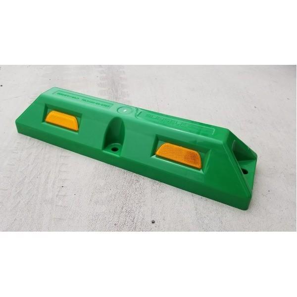 【直送】リサイクル車止め/パーキングストップ12本セット 〔高さ100mm 緑色〕 反射プレート付き スクリューアンカーセット