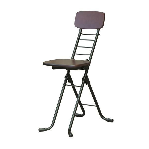 【直送】折りたたみ椅子 〔2脚セット ダークブラウン×ブラック〕 幅35cm 日本製 日本製 高さ6段調節 スチールパイプ 『リリィチェアM』