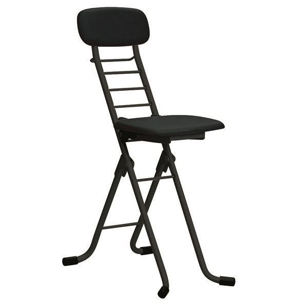 【直送】折りたたみ椅子 〔4脚セット ブラック×ブラック〕 幅35cm 日本製 高さ6段調節 スチールパイプ 『カラーリリィチェア』