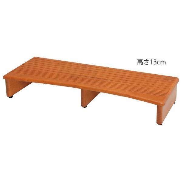 【直送】滑りにくい 玄関台/踏み台 〔幅90cm 高さ13cm〕 木製 木製 防滑加工 ゴム製アジャスター付き 〔エントランス 入口〕