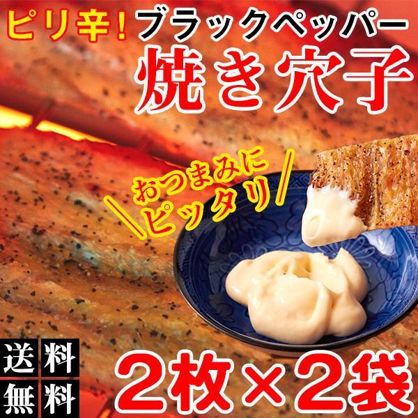 ブラックペッパー焼あなご おつまみ 珍味 穴子 ポイント消化 送料無料 食品 2枚入り×2袋 〔ゆうメール出荷〕〔発送まで1〜2週間〕|kiwami-honpo