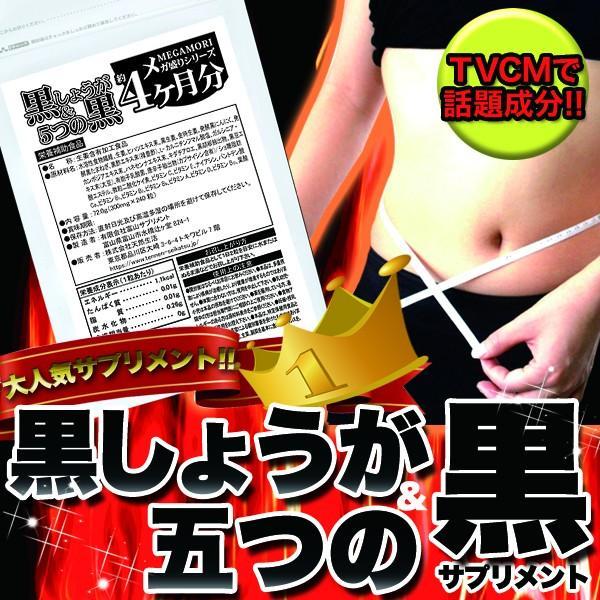 黒しょうが&5つの黒 黒ショウガ サプリ ダイエット 国産 日本製  サプリメント 送料無料 大量 ポイント消化  約4ヵ月分 〔120日分×1袋〕 〔メール便出荷〕|kiwami-honpo|02