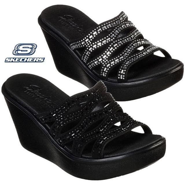 スケッチャーズ SKECHERS 33474 RUMBLE UP - FUNNY BUSINESS サンダル ウエッジ 厚底 レディース 婦人 BBK ブラック/ブラック BLK ブラック 靴 kksimple