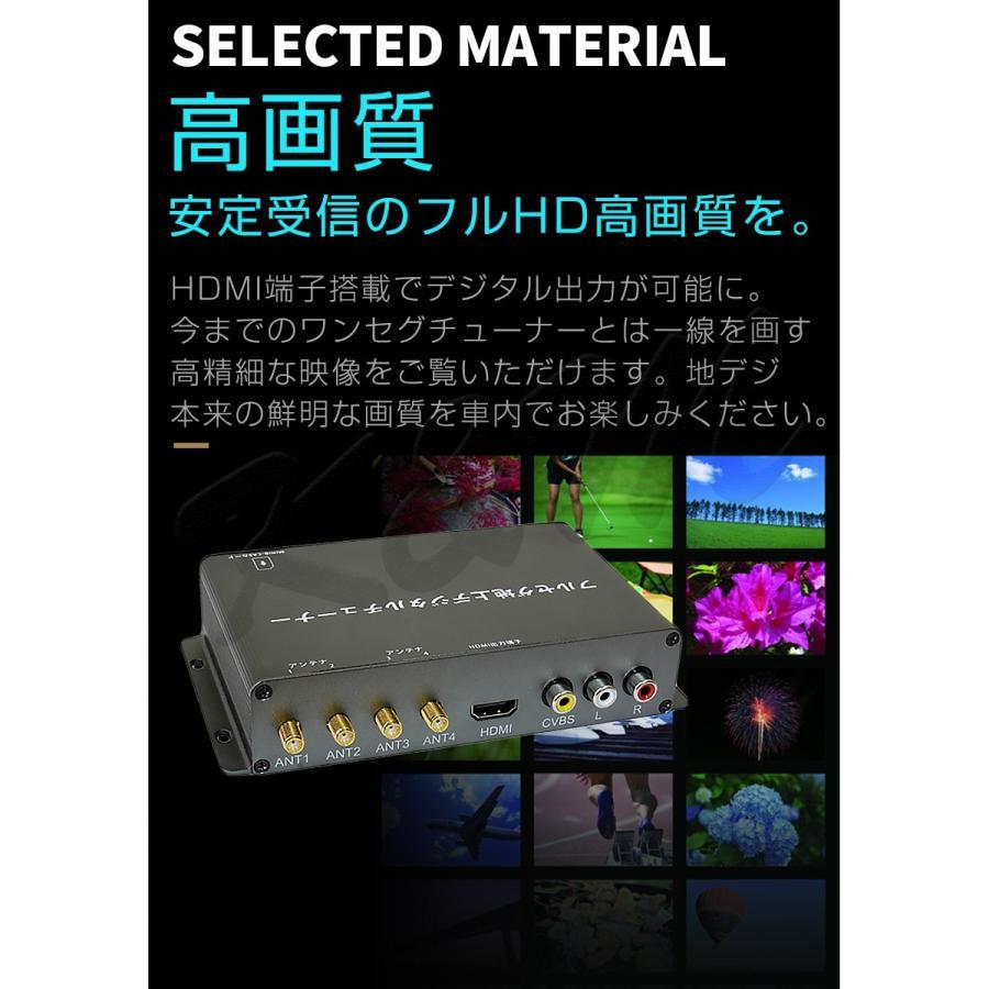 地デジチューナー カーナビ ワンセグ フルセグ HDMI 4x4 4チューナー 4アンテナ 高性能 高画質 TV 車載 miniB-CASカード付き 1年保証|km-serv1ce|02