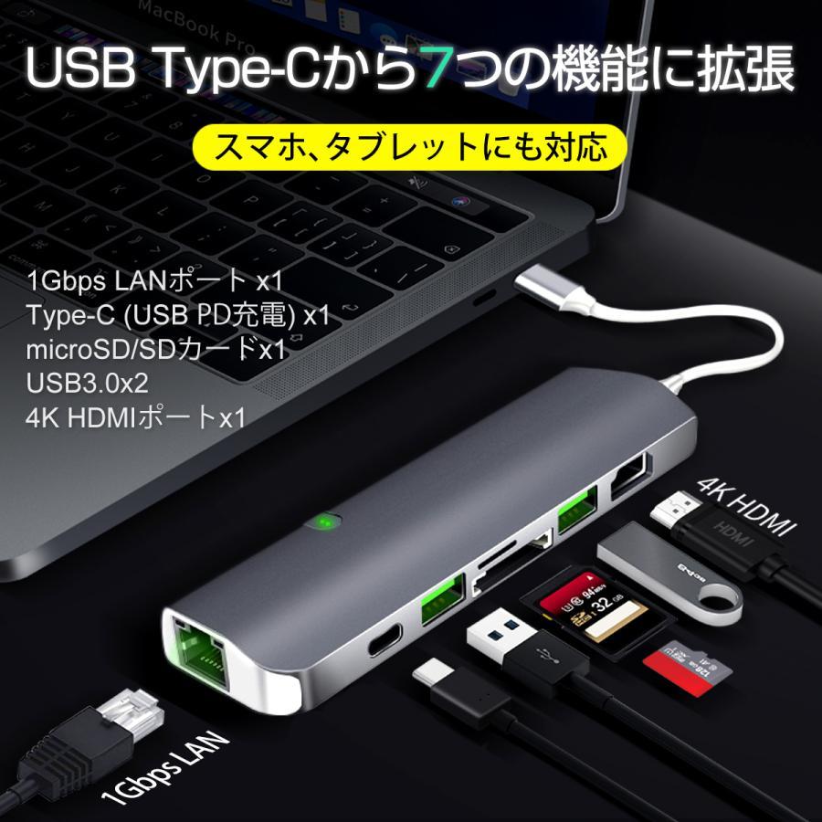 USB Type-C ハブ 9in1 USB3.0x2 4K HDMI 1Gbps有線LAN PD充電 microSD SDスロット 拡張 変換 スペースグレイ 軽量 MacBook ChromeBook 3ヶ月保証|km-serv1ce|02