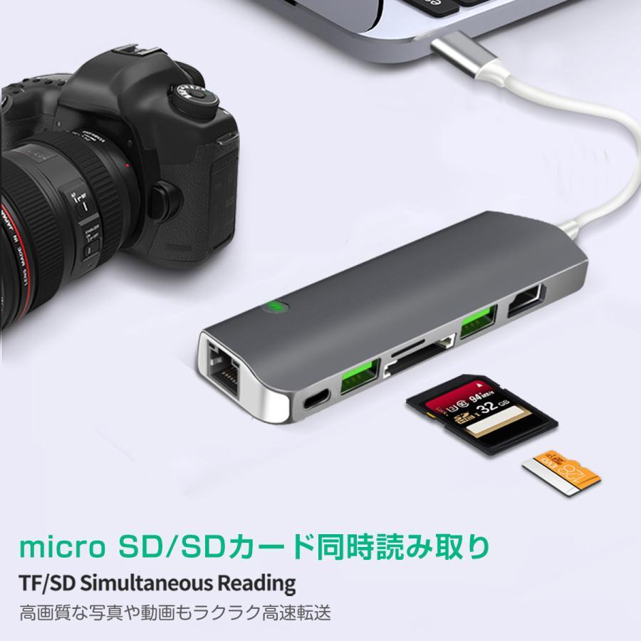 USB Type-C ハブ 9in1 USB3.0x2 4K HDMI 1Gbps有線LAN PD充電 microSD SDスロット 拡張 変換 スペースグレイ 軽量 MacBook ChromeBook 3ヶ月保証|km-serv1ce|06