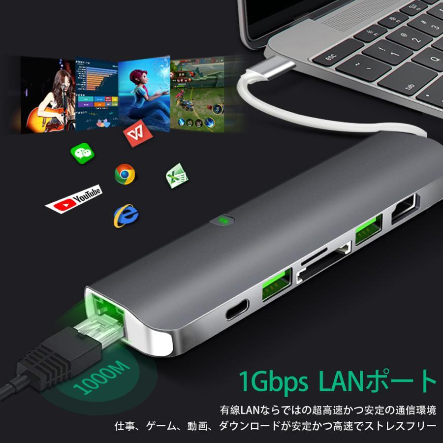 USB Type-C ハブ 9in1 USB3.0x2 4K HDMI 1Gbps有線LAN PD充電 microSD SDスロット 拡張 変換 スペースグレイ 軽量 MacBook ChromeBook 3ヶ月保証|km-serv1ce|07