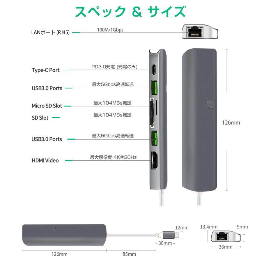 USB Type-C ハブ 9in1 USB3.0x2 4K HDMI 1Gbps有線LAN PD充電 microSD SDスロット 拡張 変換 スペースグレイ 軽量 MacBook ChromeBook 3ヶ月保証|km-serv1ce|09