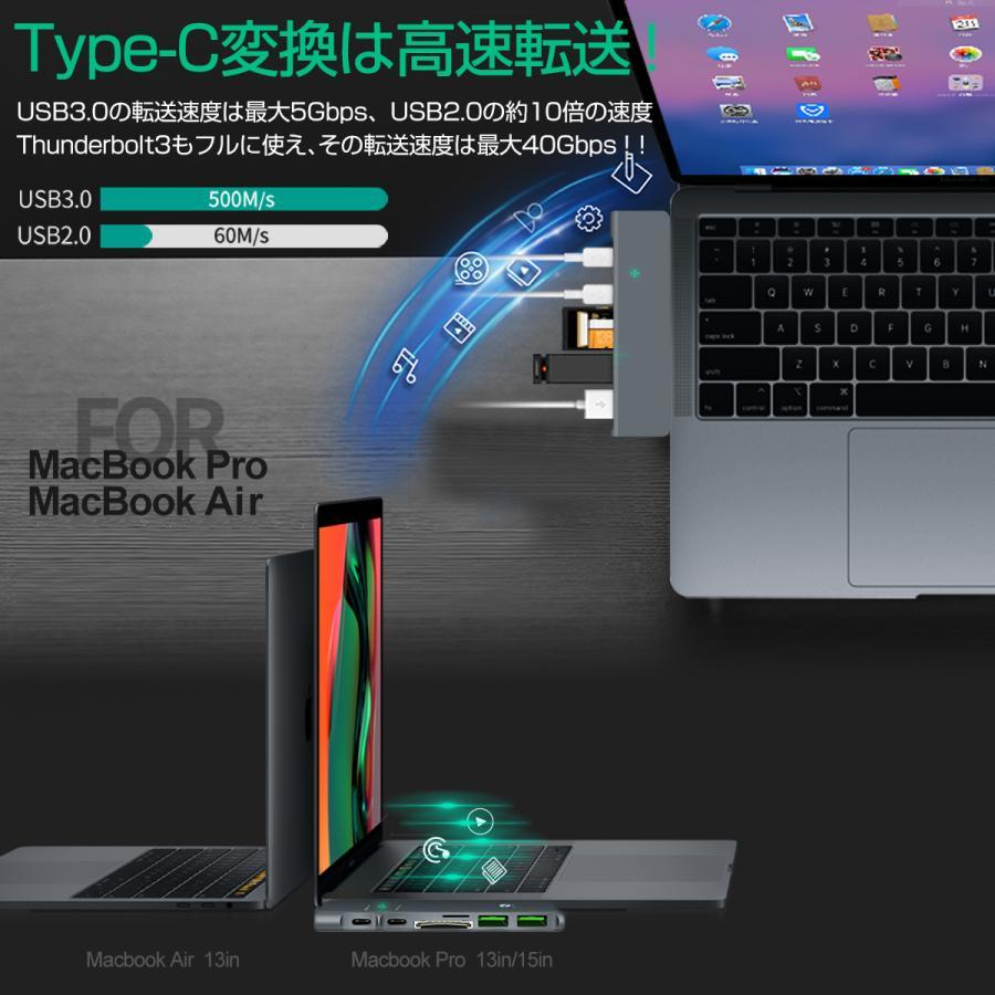USB Type-C ハブ 8in1 USB3.0x3 4K 8K出力 HDMI Thunderbolt3 40Gbps PD充電 microSD SDスロット 拡張 変換 MacBook ChromeBook 3ヶ月保証|km-serv1ce|03