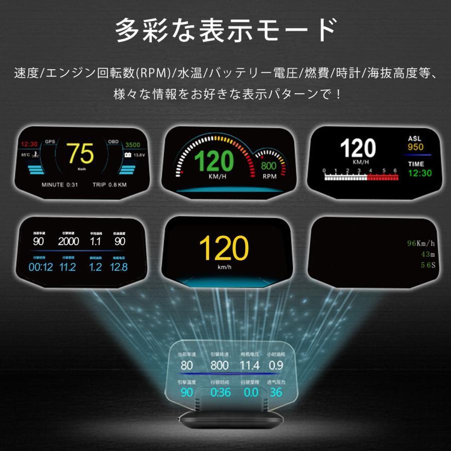 ヘッドアップディスプレイ HUD C1 OBD2+GPS 速度計 車 27の機能+48種類のフルカーデータ 大画面 二重表示防止 水温計 電圧 燃費 警告機能 6ヶ月保証|km-serv1ce|05