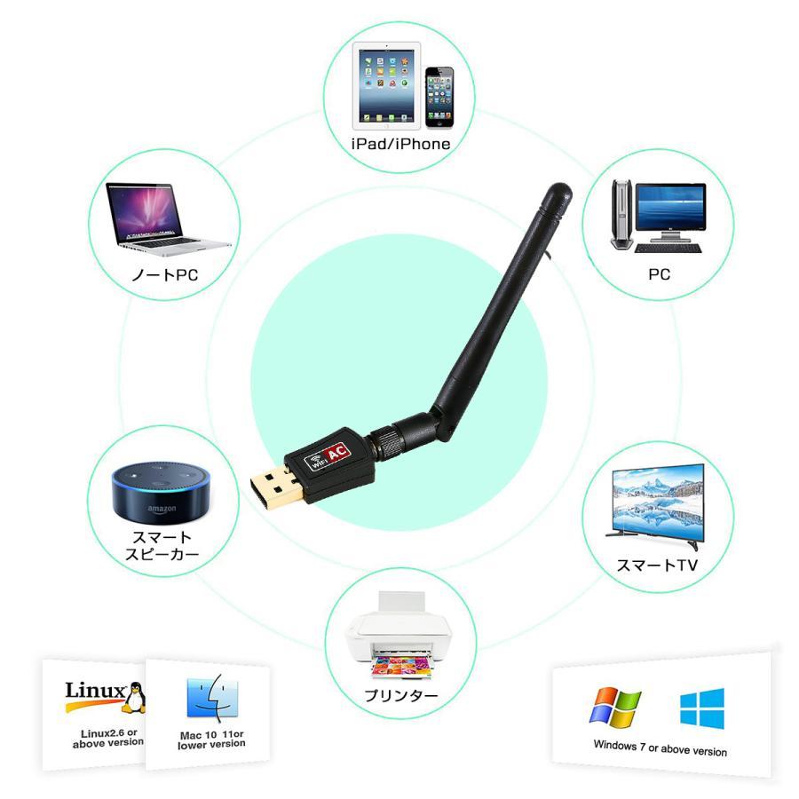 usb wifi アダプター 子機 親機 無線lan ハイパワーアンテナ 11ac/n/a/g/b 2.4GHz 150Mbps/5GHz 433Mbps対応 Windows10 Mac OS X対応 1ヶ月保証|km-serv1ce|08