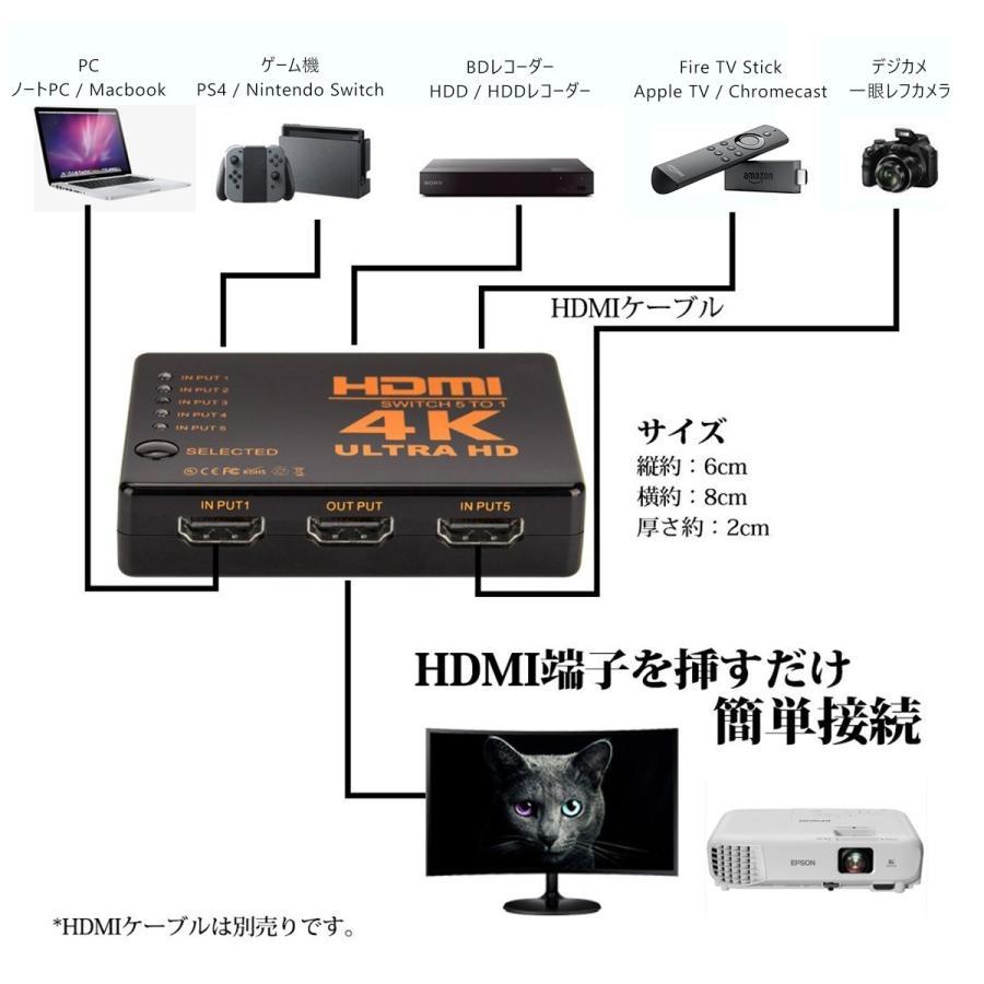 HDMI セレクター 分配器 切替器 fire tv stick 5入力1出力 4K 2K FHD対応 3D映像対応 USB給電ケーブル リモコン付き TV PC等に対応 1ヶ月保証|km-serv1ce|04