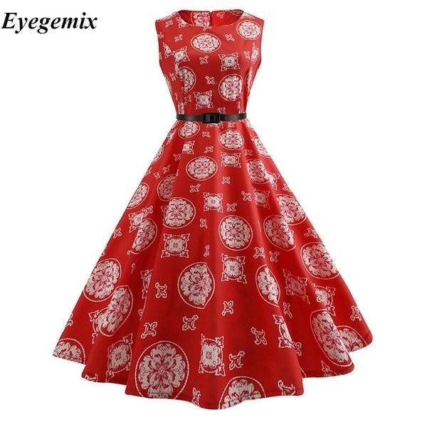 女性赤ヴィンテージドレス2021夏ノースリーブ5060スイング花レトロドレスロカビリー1950オードリーヘップバーンローブ knit