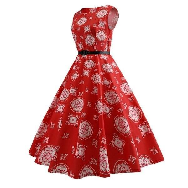 女性赤ヴィンテージドレス2021夏ノースリーブ5060スイング花レトロドレスロカビリー1950オードリーヘップバーンローブ knit 02