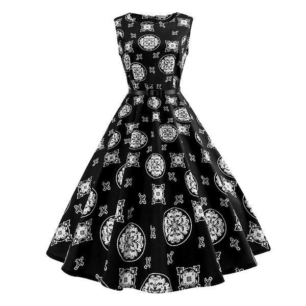 女性赤ヴィンテージドレス2021夏ノースリーブ5060スイング花レトロドレスロカビリー1950オードリーヘップバーンローブ knit 06