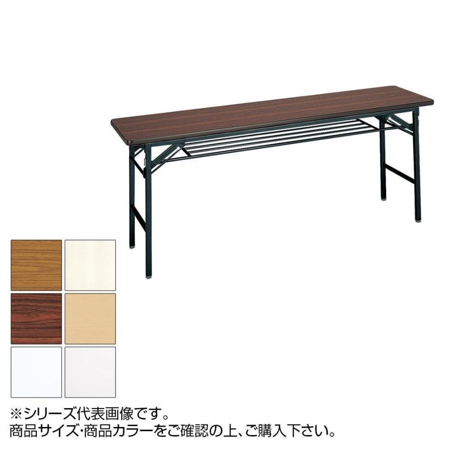 代引き・同梱不可 トーカイスクリーン 折り畳み会議テーブル スライド式 ソフトエッジ巻 棚付 ST-155