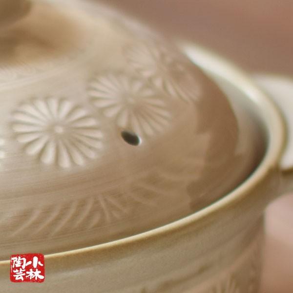 土鍋 国産 9号 銀峯 花三島土鍋 4〜5人用 ガス火用|kobayashi-tougei|05