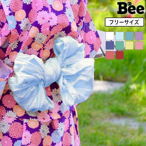 浴衣帯 韓国子供服 韓国子ども服 韓国こども服 Bee キッズ カラバリ 女の子 帯 単品 無地 シワ加工 ピンク レッド イエロー 花火大会 夏祭り 2020|kodomofuku-bee