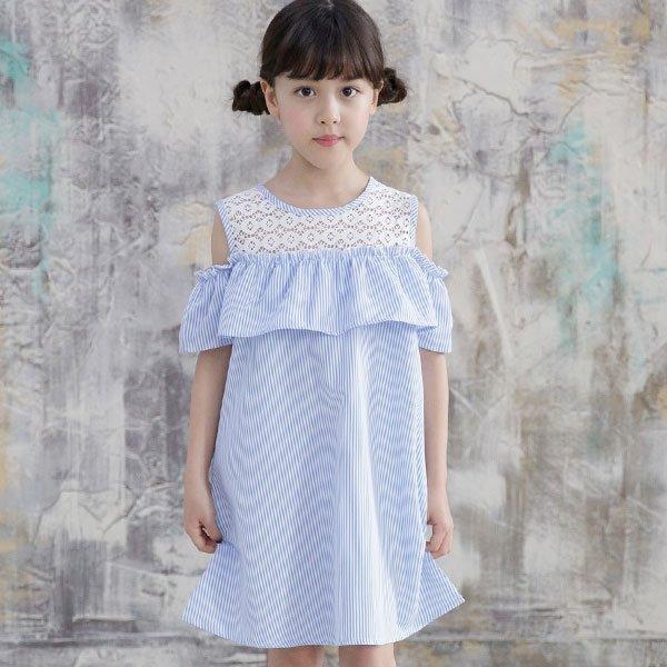韓国子供服 韓国子ども服 韓国こども服 Bee カジュアル ナチュラル キッズ 女の子 レース 100 110 120 130 140 150 オフショルダーワンピース|kodomofuku-bee|05