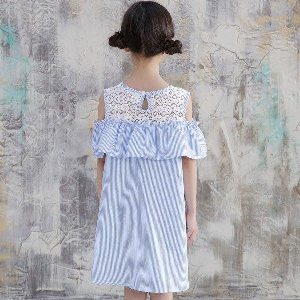 韓国子供服 韓国子ども服 韓国こども服 Bee カジュアル ナチュラル キッズ 女の子 レース 100 110 120 130 140 150 オフショルダーワンピース|kodomofuku-bee|07