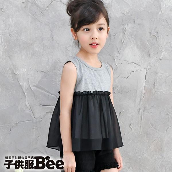 bd883e6eb8e1e ノースリーブトップス 韓国子供服 タンクトップ 袖なし 切り替え 無地 レイヤード グレー ブラック 黒 韓国 子ども服 Bee 春 夏 女の子  キッズ ジュニア