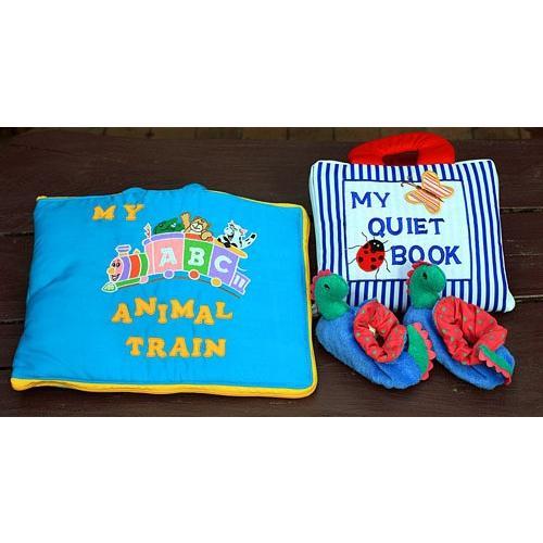 布絵本 布絵本 MY QUIET BOOK ブルーストライプ--MY ABC ANIMAL TRAIN ブルー--おまけ付ルームシューズ ファンタイムシリーズ 知育 無料ギフトラッピング