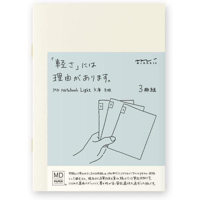 手数料無料 ミドリ ノート MDノート ライト 受賞店 文庫 15208006 3冊 方眼罫 送料無料