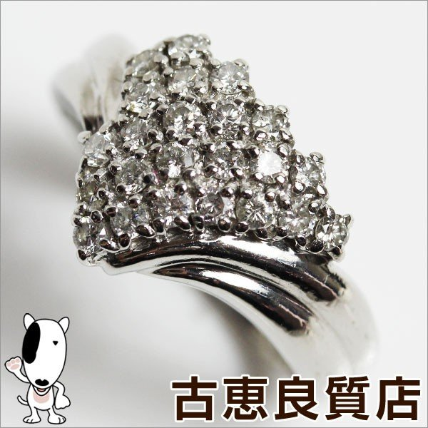 特価ブランド Pt プラチナ リング 指輪 Pt850 D.0.59ct 7.0g サイズ17.5号 ダイヤ//質屋出店/あすつく/MR1123, AIMSGALLERY 3bee6509