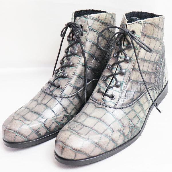 EMPORIO ARMANI エンポリオアルマーニ ブーツクロコ調 男性靴 XEU601 F09 グレー 約26.5〜27.0cm レースアップ/中古/美品/質屋出店|koera