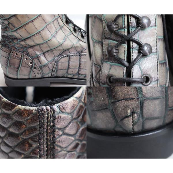 EMPORIO ARMANI エンポリオアルマーニ ブーツクロコ調 男性靴 XEU601 F09 グレー 約26.5〜27.0cm レースアップ/中古/美品/質屋出店|koera|04