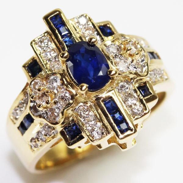 【即出荷】 K18 イエローゴールド サファイア ダイヤモンドリングファッションリング レディース指輪 S0.91ct/D0.32ct7.6g サイズ10号 MR1569, インテリアネット-C5 5767ccd3