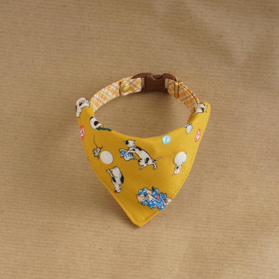 首輪用バンダナ 首輪にワンタッチでつけられるバンダナ 黄色 いつでも送料無料 浮世絵風の猫のバンダナ 奉呈